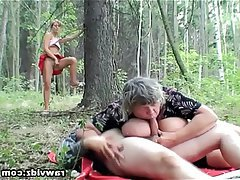 Mature Old and Young Outdoor Teen Threesome