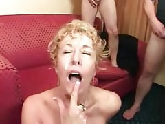 Blonde Bukkake Facial Group Sex Mature