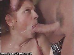 Blowjob Cumshot Granny Mature Threesome