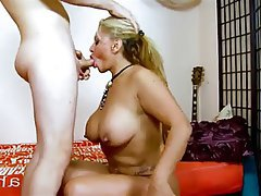 busty white girl blowjob