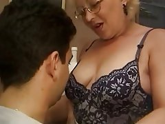 Blonde Granny Italian Old and Young Stockings