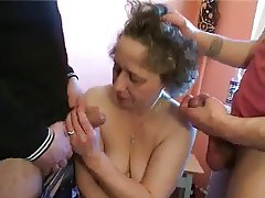 Gangbang Group Sex MILF Old and Young Russian