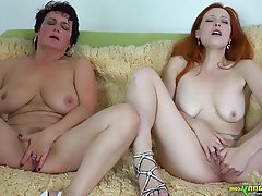 BBW Lesbian Mature Old and Young Redhead